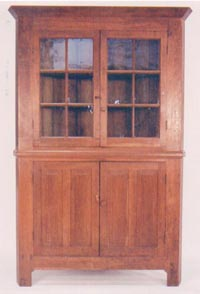 Cherry 12 Pane Glass Door Corner Cupboard